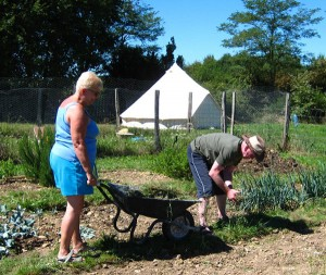 Grannie and Grandad in the potager