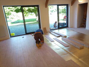 Floor going down in the yoga studio